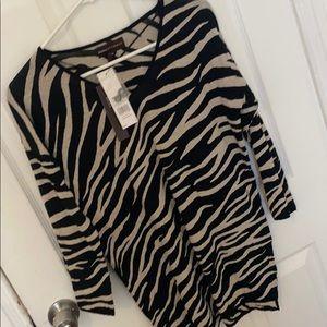 Dana Buchman 3/4 Length Sleeve Sweater- Tan/Black